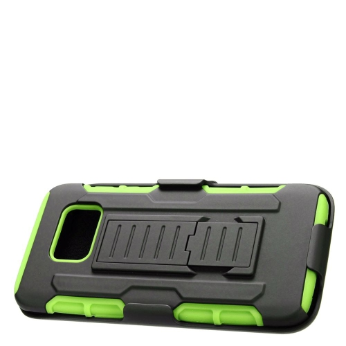Insten Car Armor Hybrid Stand PC/Silicone Holster Case For Samsung Galaxy S7 Edge, Black/Green