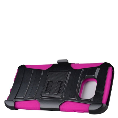 Insten Hybrid Stand PC/Silicone Holster Case For Samsung Galaxy S7 Edge, Black/Hot Pink