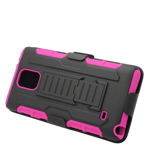 Insten Car Armor Hybrid Stand PC/Silicone Holster Case For Samsung Galaxy Note 4, Black/Hot Pink