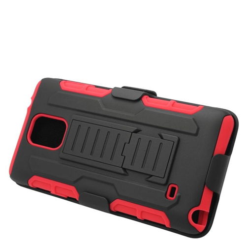 Insten Car Armor Hybrid Stand PC/Silicone Holster Case For Samsung Galaxy Note 4, Black/Red