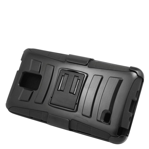 Insten Hybrid Stand PC/Silicone Holster Case For Samsung Galaxy Note 4, Black