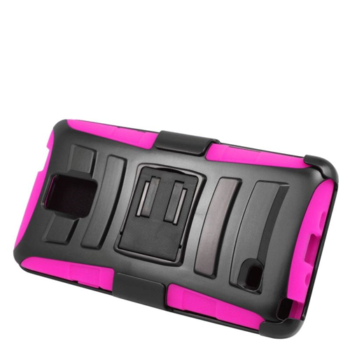 Insten Hybrid Stand PC/Silicone Holster Case For Samsung Galaxy Note 4, Black/Hot Pink