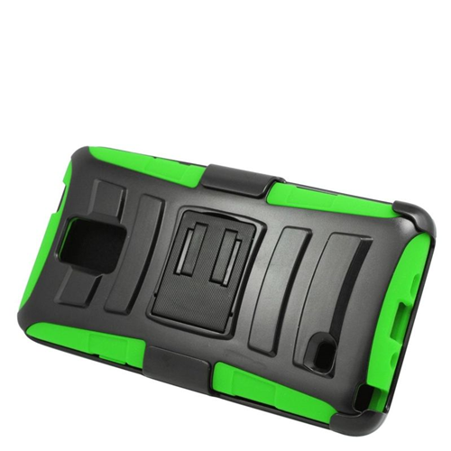 Insten Hybrid Stand PC/Silicone Holster Case For Samsung Galaxy Note 4, Black/Green