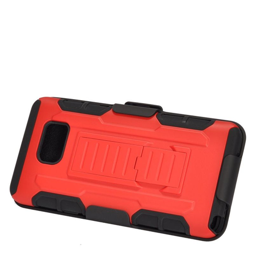 Insten Car Armor Hybrid Stand PC/Silicone Holster Case For Samsung Galaxy Note 5, Red/Black