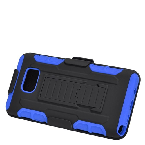 Insten Car Armor Hybrid Stand PC/Silicone Holster Case For Samsung Galaxy Note 5, Black/Blue