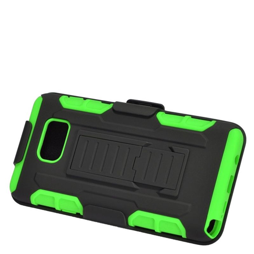 Insten Car Armor Hybrid Stand PC/Silicone Holster Case For Samsung Galaxy Note 5, Black/Green
