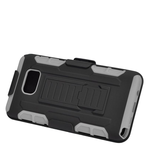 Insten Car Armor Hybrid Stand PC/Silicone Holster Case For Samsung Galaxy Note 5, Black/Gray