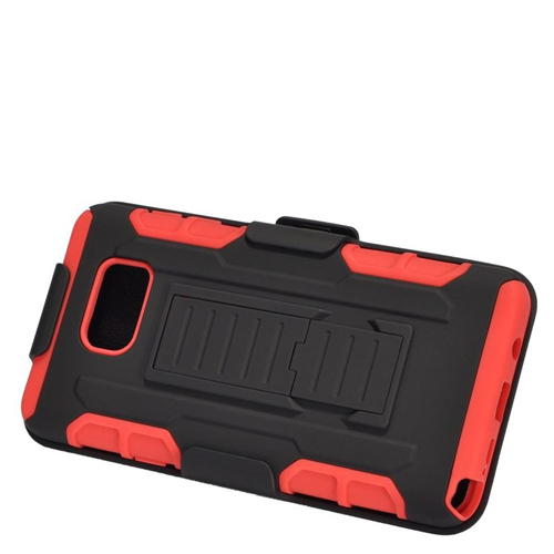 Insten Car Armor Hybrid Stand PC/Silicone Holster Case For Samsung Galaxy Note 5, Black/Red