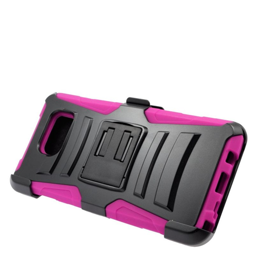 Insten Hybrid Stand PC/Silicone Holster Case For Samsung Galaxy Note 5, Black/Hot Pink