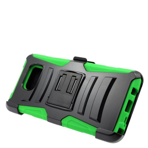 Insten Hybrid Stand PC/Silicone Holster Case For Samsung Galaxy Note 5, Black/Green