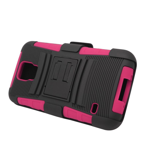 Insten Hybrid Stand PC/Silicone Holster Case For Samsung Galaxy S5 SM-G900, Black/Hot Pink