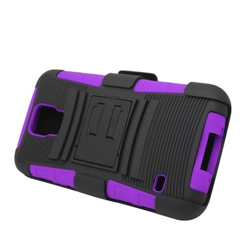 Insten Hybrid Stand PC/Silicone Holster Case For Samsung Galaxy S5 SM-G900, Black/Purple