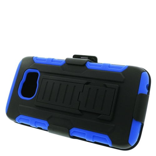 Insten Car Armor Hybrid Stand PC/Silicone Holster Case For Samsung Galaxy S6 SM-G920, Black/Blue
