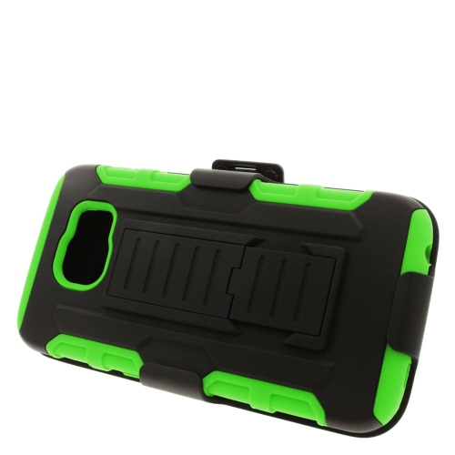Insten Car Armor Hybrid Stand PC/Silicone Holster Case For Samsung Galaxy S6 SM-G920, Black/Green