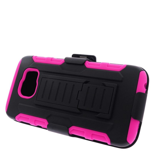 Insten Car Armor Hybrid Stand PC/Silicone Holster Case For Samsung Galaxy S6 SM-G920, Black/Hot Pink