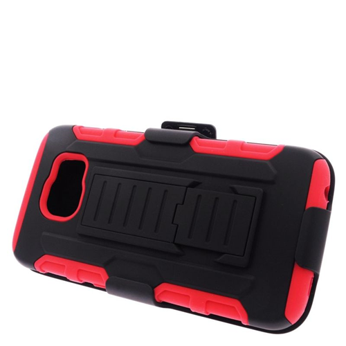 Insten Car Armor Hybrid Stand PC/Silicone Holster Case For Samsung Galaxy S6 SM-G920, Black/Red