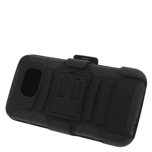 Insten Hybrid Stand PC/Silicone Holster Case For Samsung Galaxy S6 SM-G920, Black