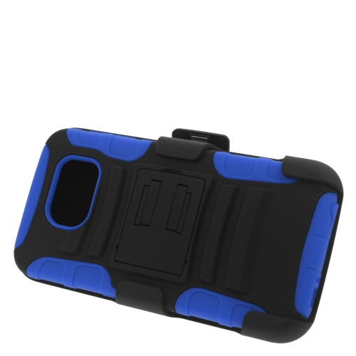 Insten Hybrid Stand PC/Silicone Holster Case For Samsung Galaxy S6 SM-G920, Black/Blue