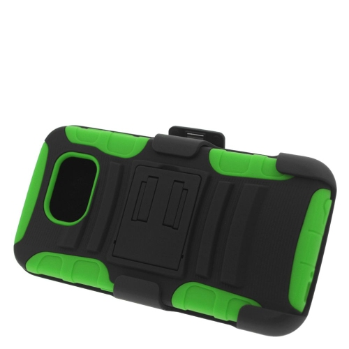 Insten Hybrid Stand PC/Silicone Holster Case For Samsung Galaxy S6 SM-G920, Black/Green