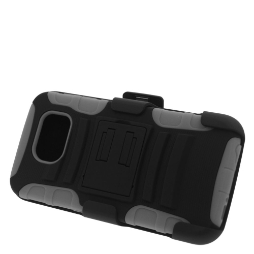 Insten Hybrid Stand PC/Silicone Holster Case For Samsung Galaxy S6 SM-G920, Black/Gray