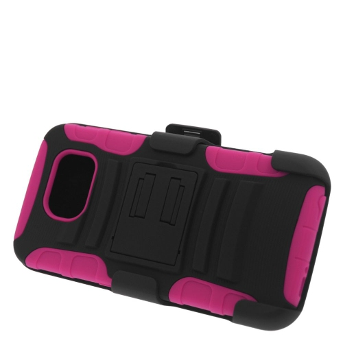 Insten Hybrid Stand PC/Silicone Holster Case For Samsung Galaxy S6 SM-G920, Black/Hot Pink