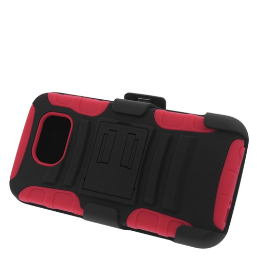 Insten Hybrid Stand PC/Silicone Holster Case For Samsung Galaxy S6 SM-G920, Black/Red