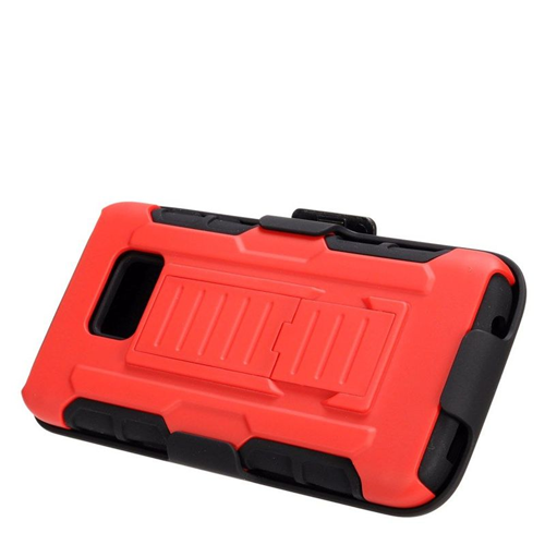 Insten Car Armor Hybrid Stand PC/Silicone Holster Case For Samsung Galaxy S7, Red/Black