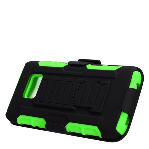 Insten Car Armor Hybrid Stand PC/Silicone Holster Case For Samsung Galaxy S7, Black/Green