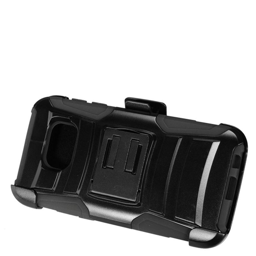 Insten Hybrid Stand PC/Silicone Holster Case For Samsung Galaxy S7, Black