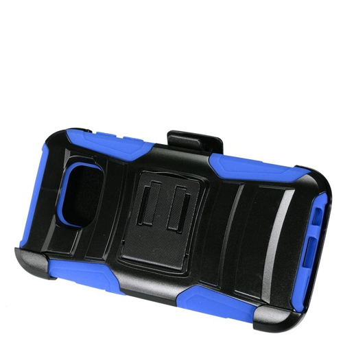 Insten Hybrid Stand PC/Silicone Holster Case For Samsung Galaxy S7, Black/Blue