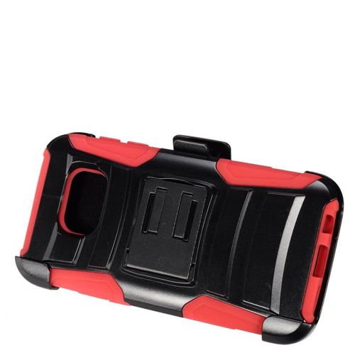 Insten Hybrid Stand PC/Silicone Holster Case For Samsung Galaxy S7, Black/Red