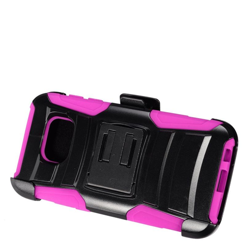 Insten Hybrid Stand PC/Silicone Holster Case For Samsung Galaxy S7, Black/Hot Pink