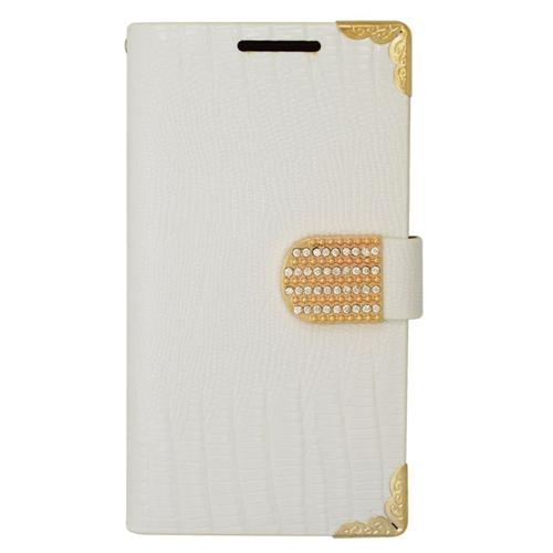 Insten Folio Flip Leather Wallet Flap Pouch Case With Diamond Compatible HTC Desire 510, White/Gold