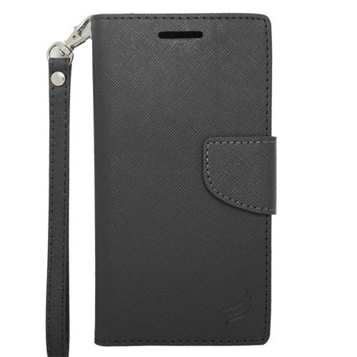 Insten Stand Folio Flip Leather Wallet Flap Pouch Case Cover Compatible With HTC Desire 510, Black
