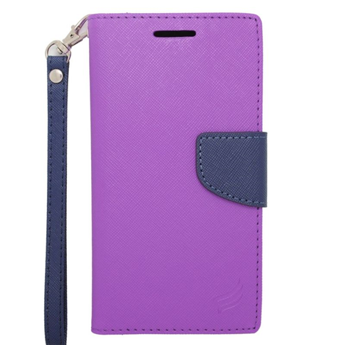 Insten Stand Folio Flip Leather Wallet Flap Pouch Case For HTC Desire 510, Purple/Blue