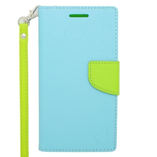 Insten Stand Folio Flip Leather Wallet Flap Pouch Case For HTC Desire 510, Light Blue/Green