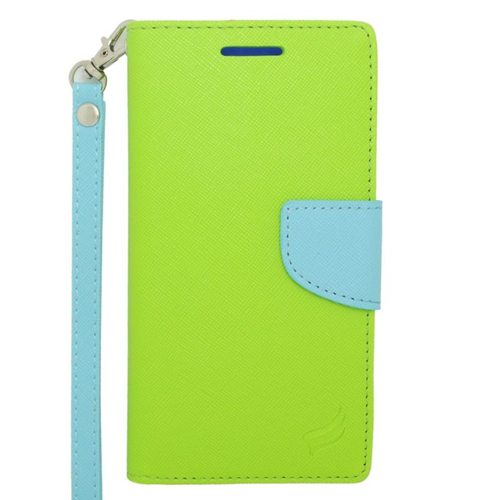 Insten Stand Folio Flip Leather Wallet Flap Pouch Case For HTC Desire 510, Light Blue/Green