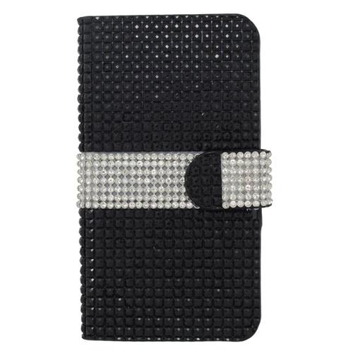 Insten Folio Flip Rhinestone Diamond Leather Wallet Flap Pouch Case For HTC Desire 510, Black/Silver