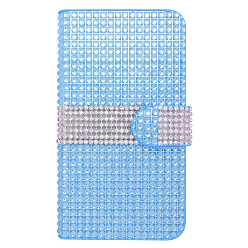 Insten Folio Flip Rhinestone Diamond Leather Wallet Flap Pouch Case For HTC Desire 510, Blue/Silver