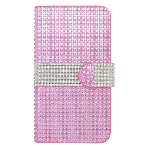 Insten Folio Flip Rhinestone Leather Wallet Flap Pouch Case For HTC Desire 510, Hot Pink/Silver