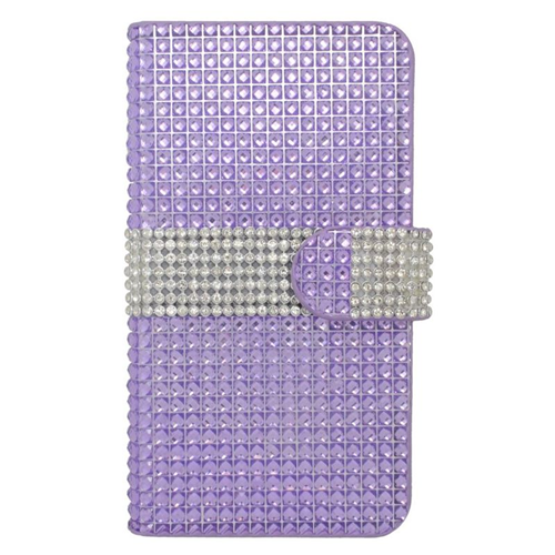 Insten Folio Flip Rhinestone Leather Wallet Flap Pouch Case For HTC Desire 510, Purple/Silver