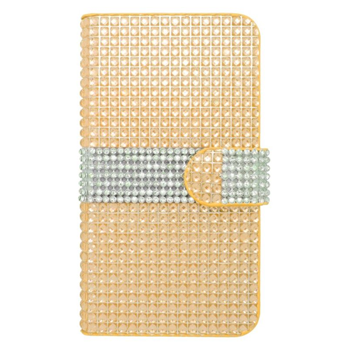 Insten Folio Flip Rhinestone Diamond Leather Wallet Flap Pouch Case For HTC Desire 510, Gold/Silver
