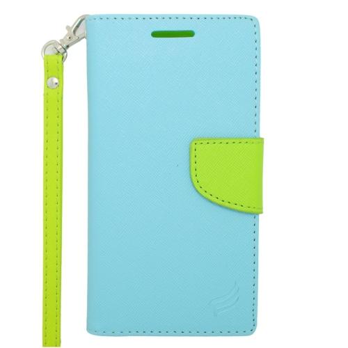Insten Folio Flip Leather Wallet Flap Pouch Case For HTC Desire 610/612 Verizon, Light Blue/Green