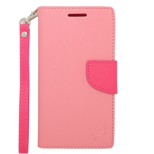 Insten Stand Folio Flip Leather Wallet Flap Pouch Case For HTC Desire 610/612 Verizon, Pink/Hot Pink