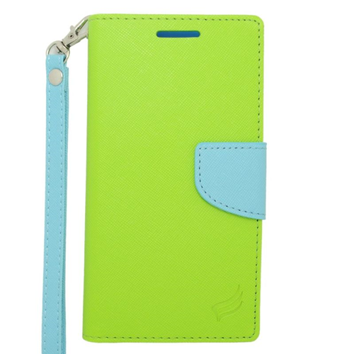 Insten Folio Flip Leather Wallet Flap Pouch Case For HTC Desire 610/612 Verizon, Green/Light Blue