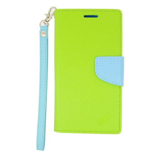 Insten Stand Folio Flip Leather Wallet Flap Pouch Case For HTC Desire 626, Green/Light Blue