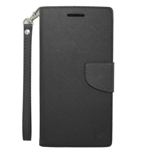 Insten Stand Folio Flip Leather Wallet Flap Pouch Case Cover Compatible With HTC Desire 816, Black