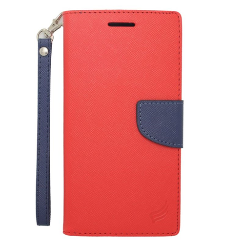 Insten Stand Folio Flip Leather Wallet Flap Pouch Case For HTC Desire 816, Red/Blue