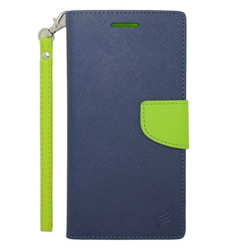 Insten Stand Folio Flip Leather Wallet Flap Pouch Case For HTC Desire 816, Dark Blue/Green