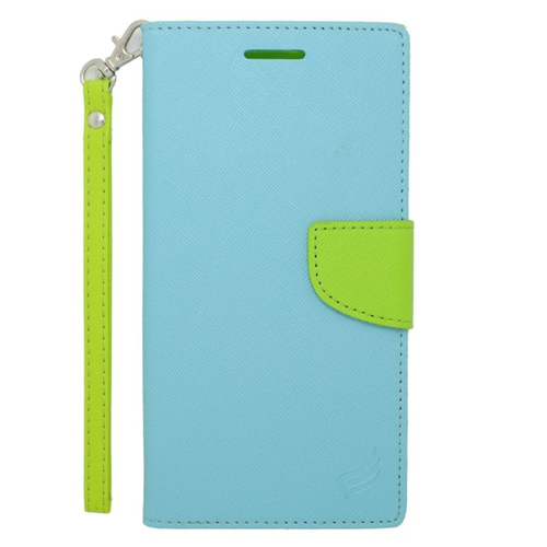 Insten Stand Folio Flip Leather Wallet Flap Pouch Case For HTC Desire 816, Light Blue/Green